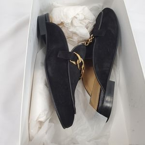 Sandro Miran Black Gold Chain Mules Suede Leather